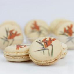 macarons avec impression fleurs pour événement de mariage