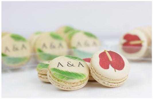 Macarons décorés fleuris