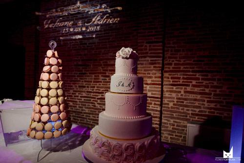macarons et pièce montée pour mariage